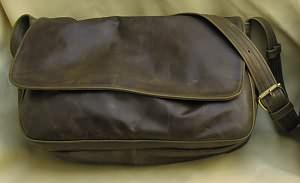 Large Olive Leather Messenger Bag