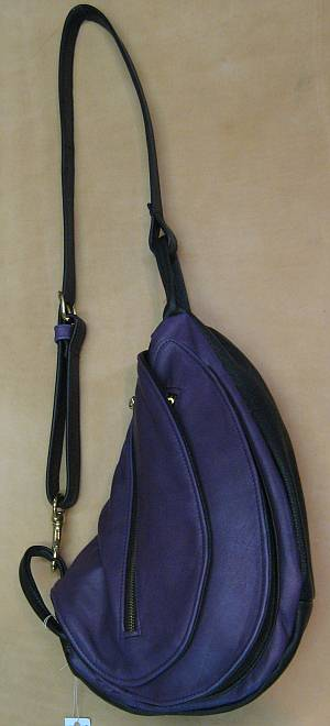 Small Purple and Black Leather Waterbag