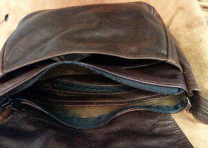 Small Leather Messenger Bag Inside