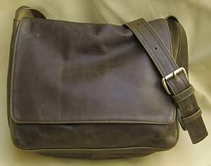 Medium Olive Leather Messenger Bag